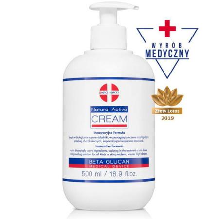 Natural Activ Cream - Regenerujący krem nawilżający o właściwościach łagodzących objawy dermatoz skóry [500ml] BETA SKIN