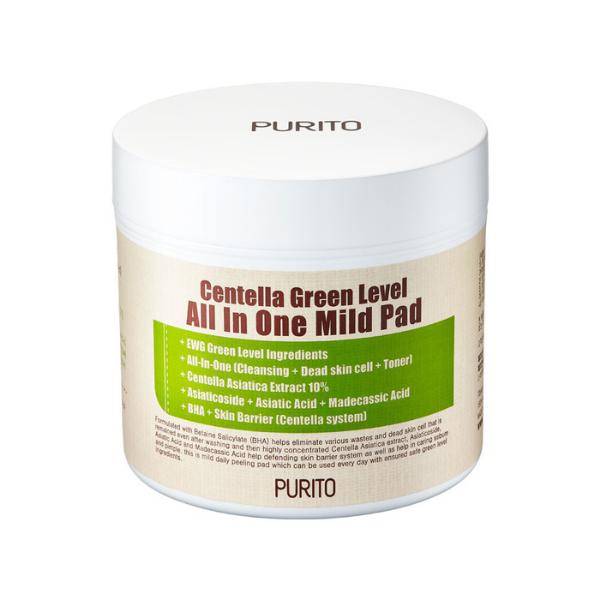 Centella Green Level All In One Mild Pad - Oczyszczająco-pielęgnujące płatki nasączone wyciągiem z wąkroty azjatyckiej [130ml] PURITO